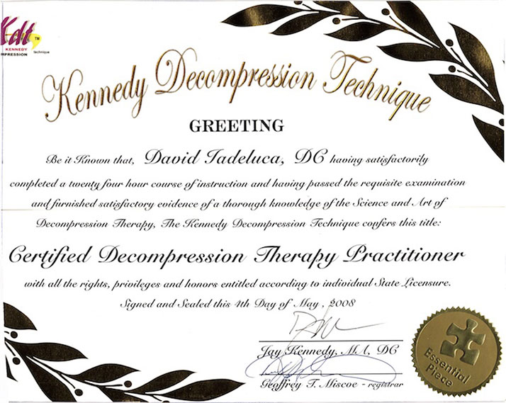 Certified Decompression Therapy Practitioner